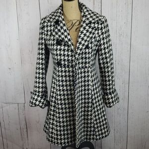 Express Houndstooth Wool Blend Jacket Coat XS